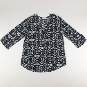Everly Geo-Print 3/4 Sleeve Blouse